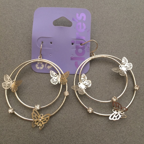 121638a27 Claire's Jewelry | 35 Claires Hoop Earrings With Butterfly | Poshmark